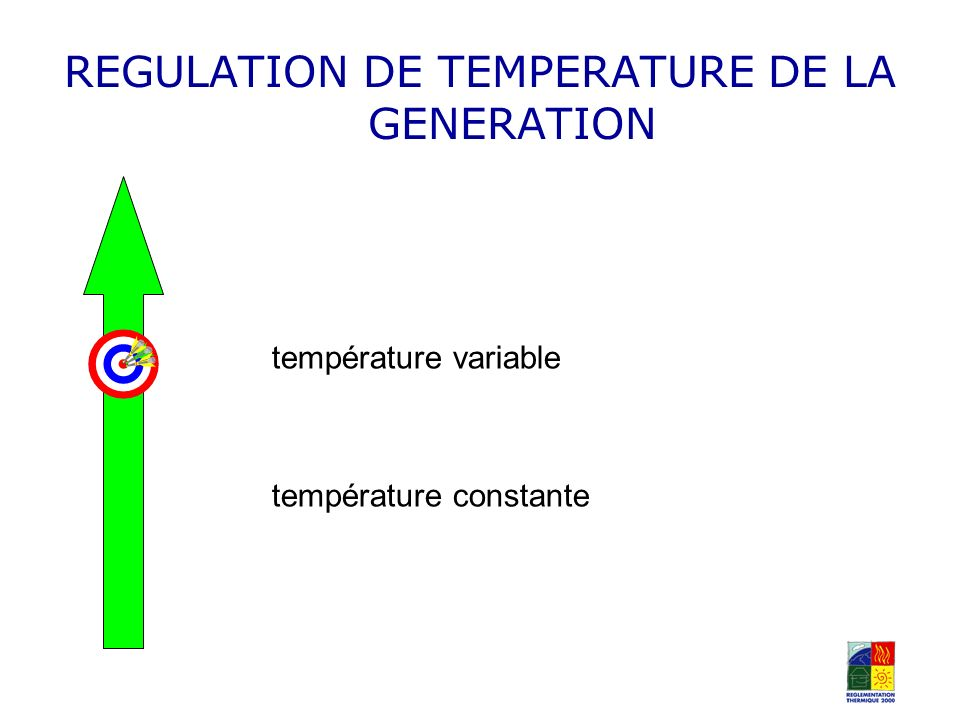 REGULATION DE TEMPERATURE DE LA GENERATION température variable température constante