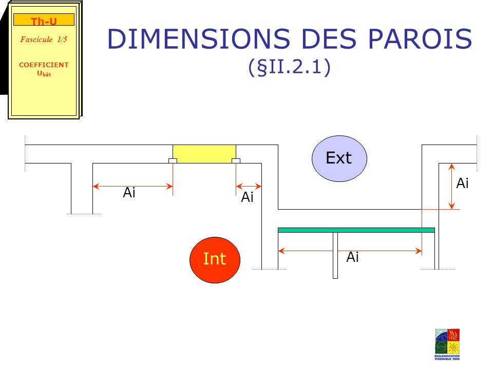 DIMENSIONS DES PAROIS (§II.2.1) Ai Int Ext Th-U Fascicule 1/5 COEFFICIENT U bât