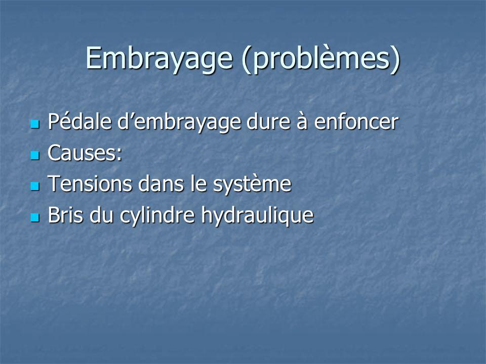 Embrayage (problèmes) Pédale dembrayage dure à enfoncer Pédale dembrayage dure à enfoncer Causes: Causes: Tensions dans le système Tensions dans le système Bris du cylindre hydraulique Bris du cylindre hydraulique