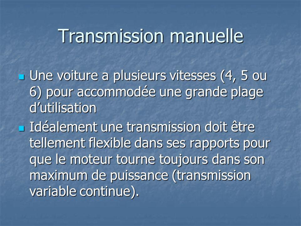 Transmission manuelle Une voiture a plusieurs vitesses (4, 5 ou 6) pour accommodée une grande plage dutilisation Une voiture a plusieurs vitesses (4,