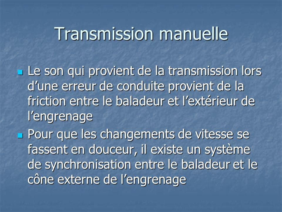 Transmission manuelle Le son qui provient de la transmission lors dune erreur de conduite provient de la friction entre le baladeur et lextérieur de l