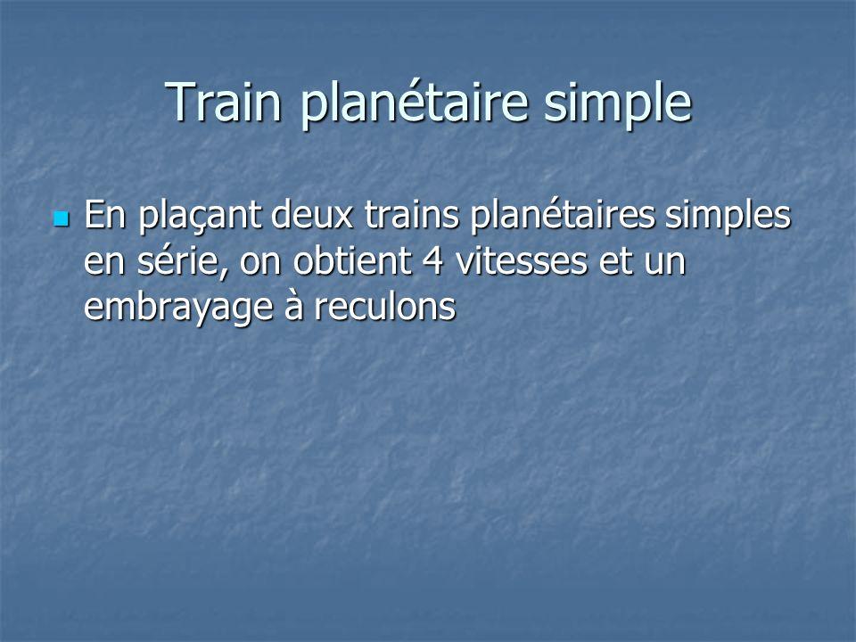 En plaçant deux trains planétaires simples en série, on obtient 4 vitesses et un embrayage à reculons En plaçant deux trains planétaires simples en série, on obtient 4 vitesses et un embrayage à reculons