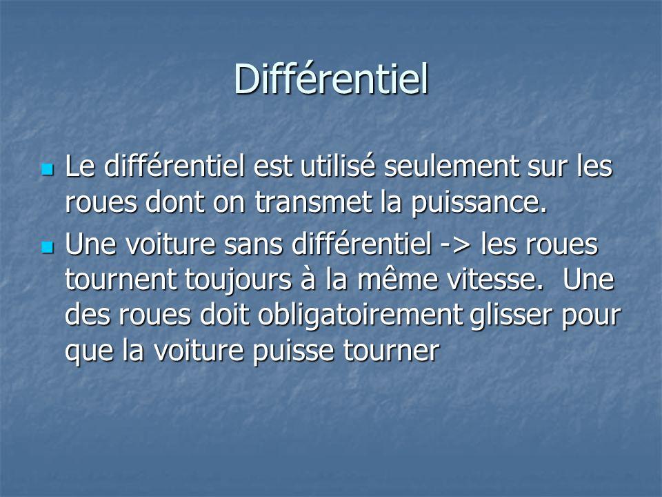 Différentiel Le différentiel est utilisé seulement sur les roues dont on transmet la puissance. Le différentiel est utilisé seulement sur les roues do