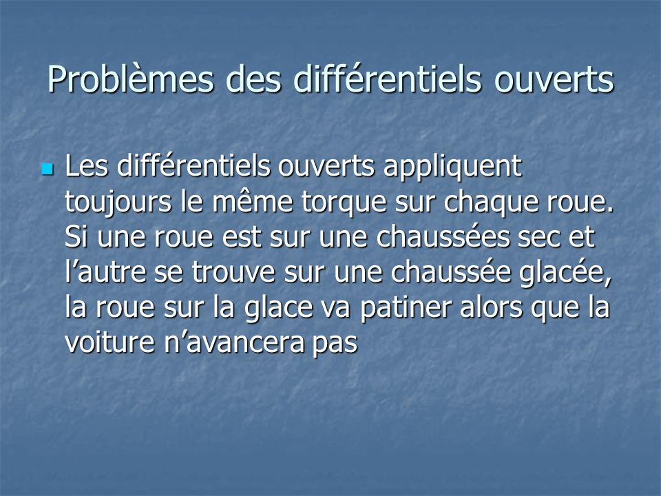 Problèmes des différentiels ouverts Les différentiels ouverts appliquent toujours le même torque sur chaque roue. Si une roue est sur une chaussées se
