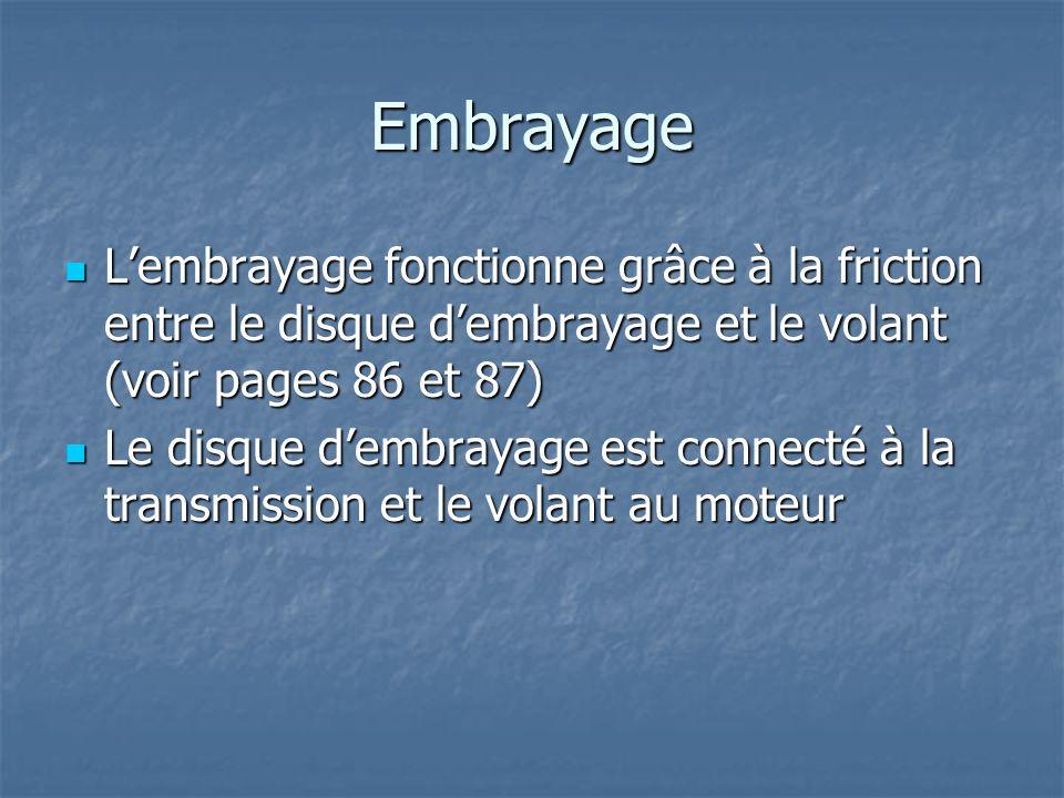 Embrayage Lembrayage fonctionne grâce à la friction entre le disque dembrayage et le volant (voir pages 86 et 87) Lembrayage fonctionne grâce à la fri