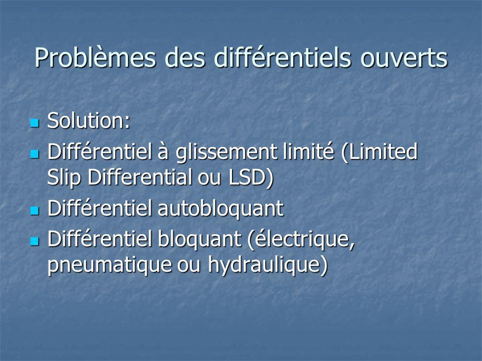 Problèmes des différentiels ouverts Solution: Solution: Différentiel à glissement limité (Limited Slip Differential ou LSD) Différentiel à glissement limité (Limited Slip Differential ou LSD) Différentiel autobloquant Différentiel autobloquant Différentiel bloquant (électrique, pneumatique ou hydraulique) Différentiel bloquant (électrique, pneumatique ou hydraulique)