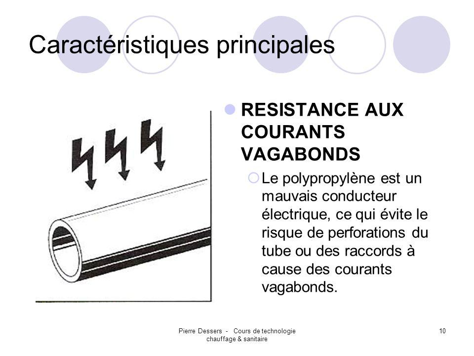 Pierre Dessers - Cours de technologie chauffage & sanitaire 10 Caractéristiques principales RESISTANCE AUX COURANTS VAGABONDS Le polypropylène est un