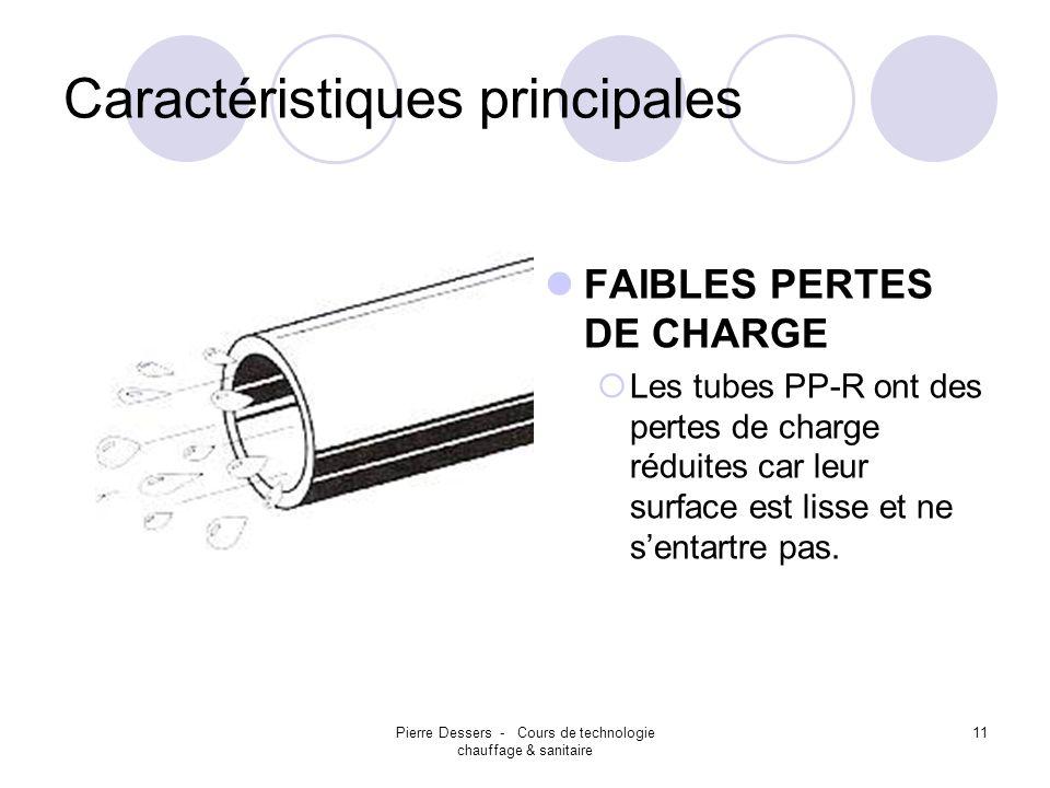 Pierre Dessers - Cours de technologie chauffage & sanitaire 11 Caractéristiques principales FAIBLES PERTES DE CHARGE Les tubes PP-R ont des pertes de
