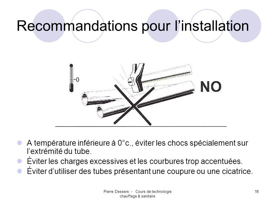 Pierre Dessers - Cours de technologie chauffage & sanitaire 18 Recommandations pour linstallation A température inférieure à 0°c., éviter les chocs sp