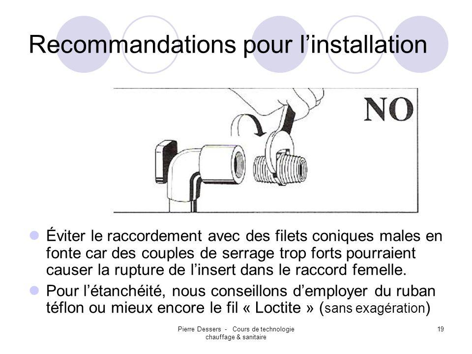 Pierre Dessers - Cours de technologie chauffage & sanitaire 19 Recommandations pour linstallation Éviter le raccordement avec des filets coniques male