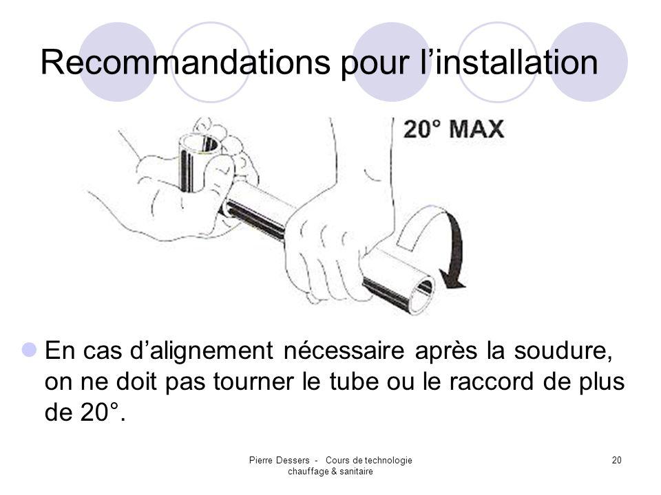 Pierre Dessers - Cours de technologie chauffage & sanitaire 21 Recommandations pour linstallation Utiliser loutil dalignement pour bien positionner les raccords avec les robinets encastrés.