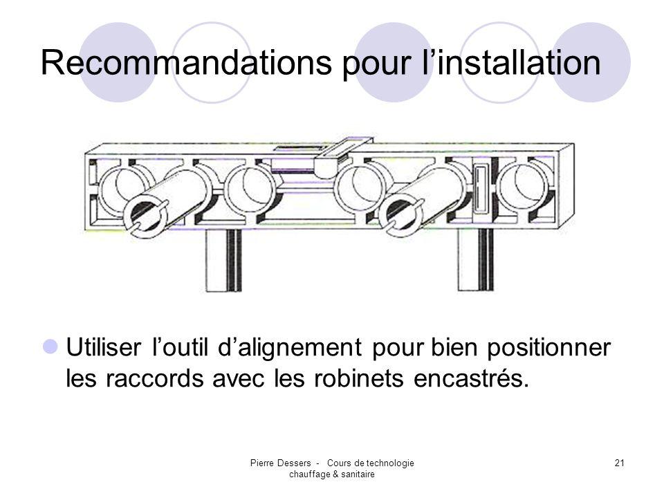 Pierre Dessers - Cours de technologie chauffage & sanitaire 21 Recommandations pour linstallation Utiliser loutil dalignement pour bien positionner le