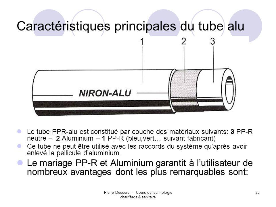 Pierre Dessers - Cours de technologie chauffage & sanitaire 23 Caractéristiques principales du tube alu Le tube PPR-alu est constitué par couche des m