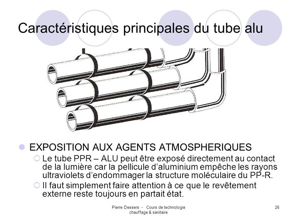 Pierre Dessers - Cours de technologie chauffage & sanitaire 26 Caractéristiques principales du tube alu EXPOSITION AUX AGENTS ATMOSPHERIQUES Le tube P