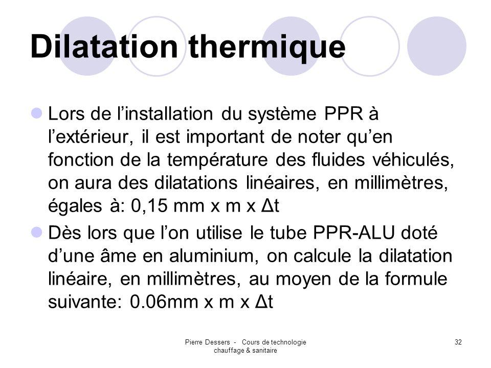 Pierre Dessers - Cours de technologie chauffage & sanitaire 33 Dilatation thermique Le diagramme figurant ci-contre indique lallongement du tube en fonction des écarts de température pour le tube PPR normal.