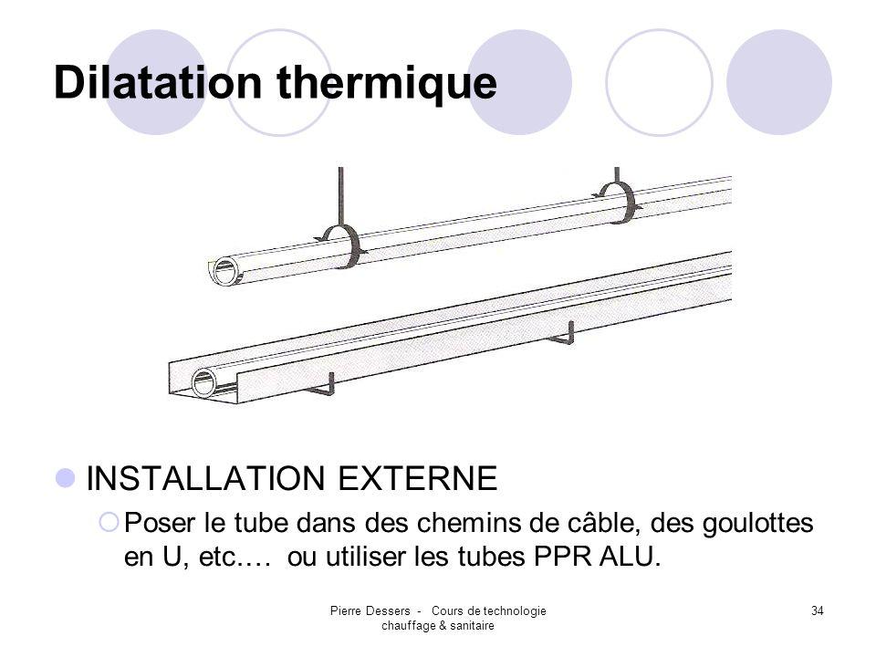 Pierre Dessers - Cours de technologie chauffage & sanitaire 34 Dilatation thermique INSTALLATION EXTERNE Poser le tube dans des chemins de câble, des