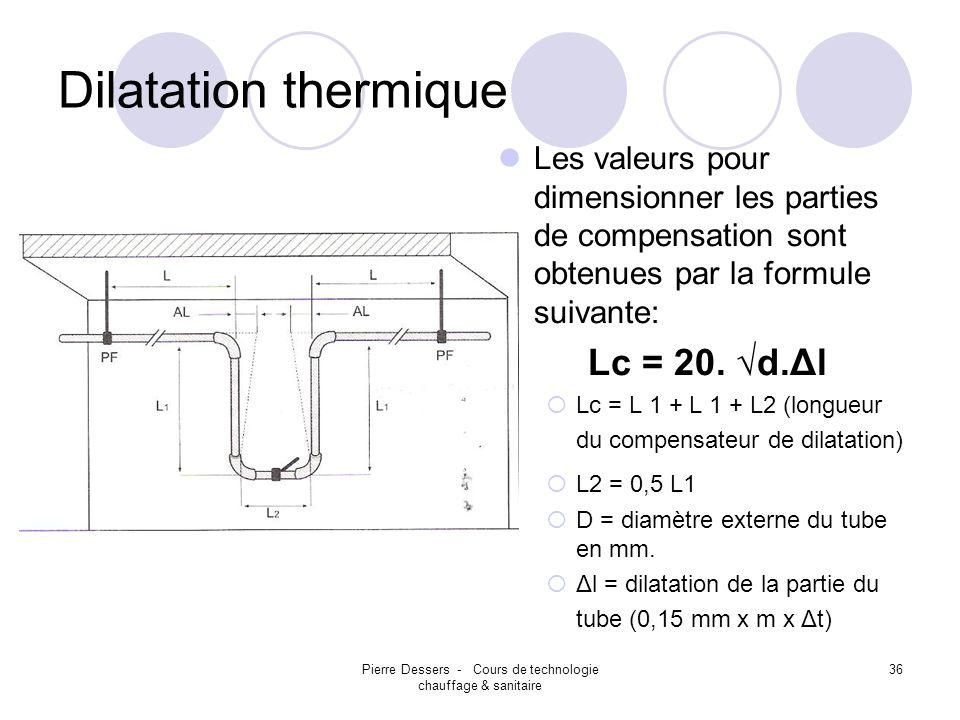 Pierre Dessers - Cours de technologie chauffage & sanitaire 36 Dilatation thermique Les valeurs pour dimensionner les parties de compensation sont obt