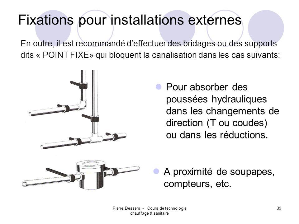 Pierre Dessers - Cours de technologie chauffage & sanitaire 39 Fixations pour installations externes Pour absorber des poussées hydrauliques dans les