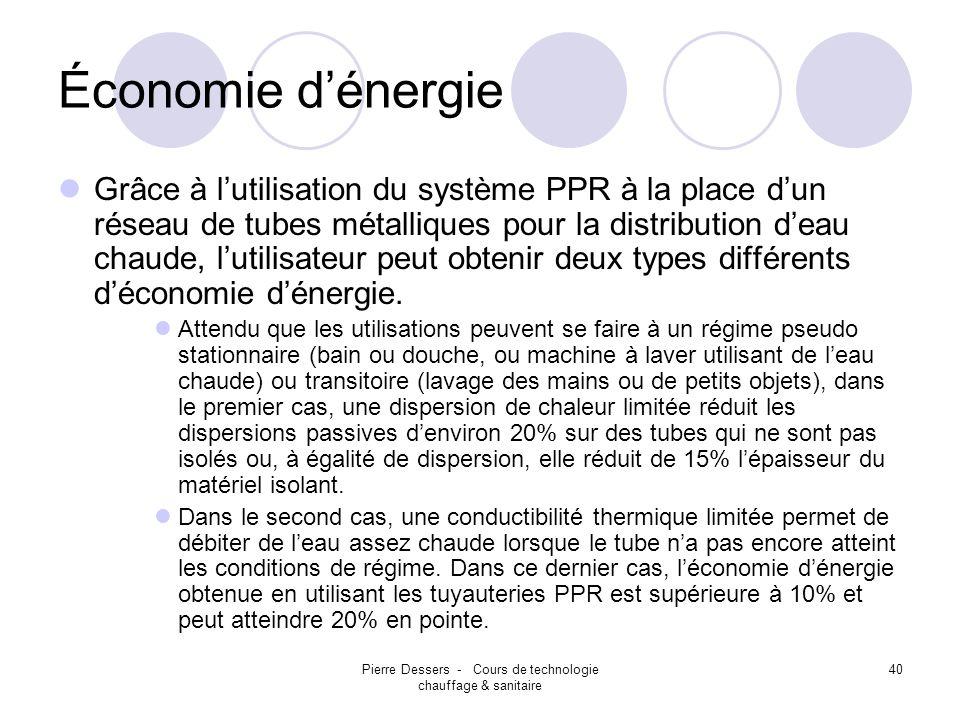 Pierre Dessers - Cours de technologie chauffage & sanitaire 40 Économie dénergie Grâce à lutilisation du système PPR à la place dun réseau de tubes mé