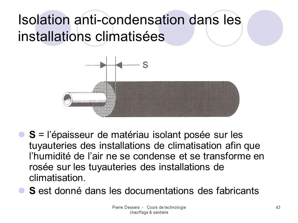 Pierre Dessers - Cours de technologie chauffage & sanitaire 43 Isolation anti-condensation dans les installations climatisées S = lépaisseur de matéri