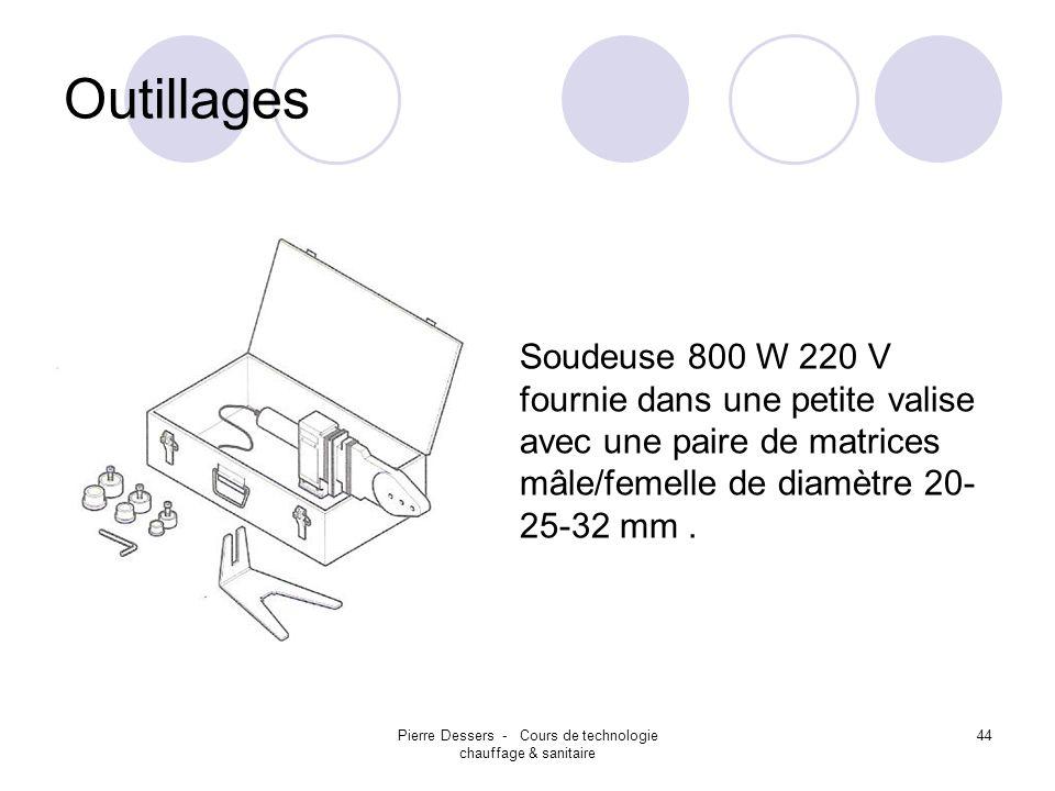 Pierre Dessers - Cours de technologie chauffage & sanitaire 45 Outillages Soudeuse 800 W 220 V La machine est équipée dun thermostat automatique pour maintenir la température demandée.