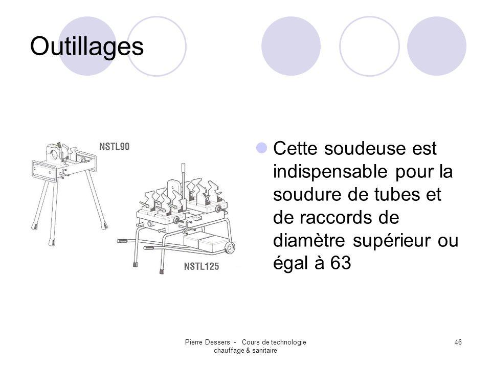 Pierre Dessers - Cours de technologie chauffage & sanitaire 46 Outillages Cette soudeuse est indispensable pour la soudure de tubes et de raccords de