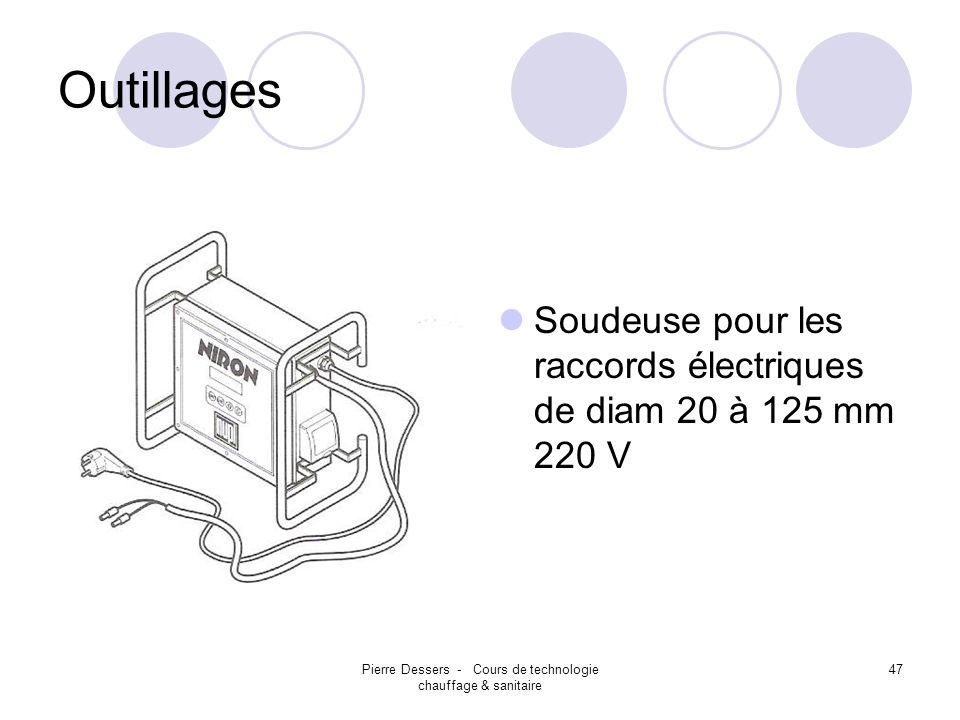 Pierre Dessers - Cours de technologie chauffage & sanitaire 48 Outillages Soudeuse pour les raccords électriques de diam 20 à 125 mm 220 V Suivre le mode demploi, fourni avec la machine.