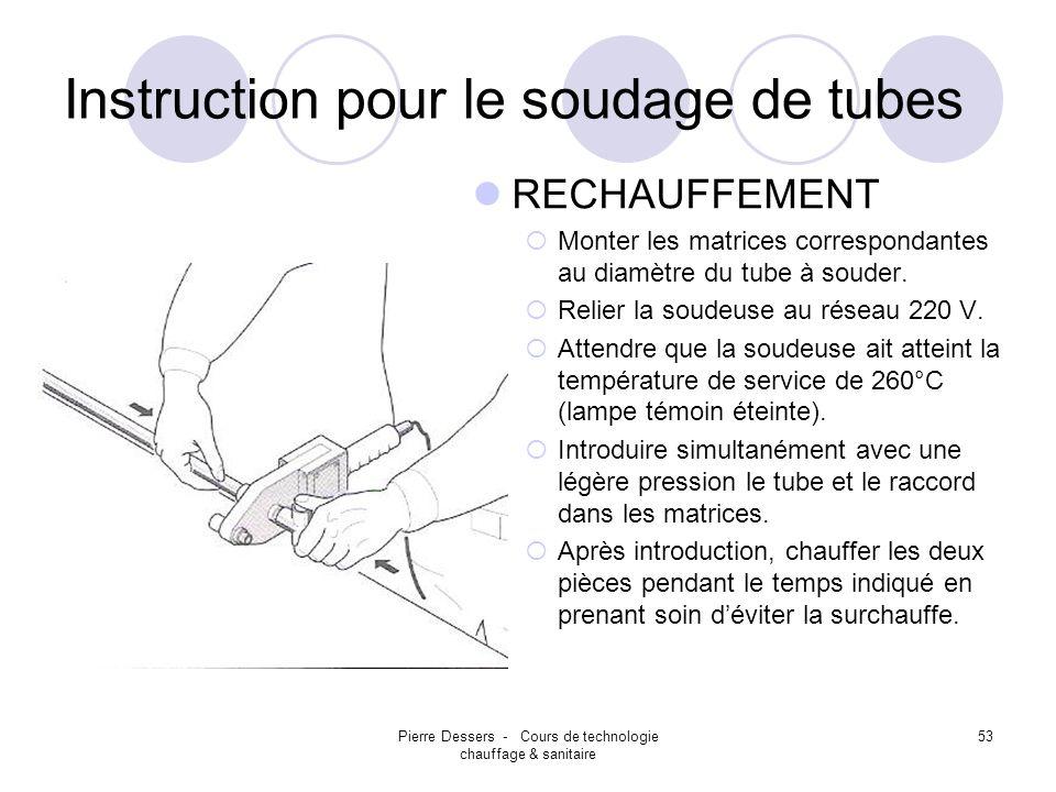 Pierre Dessers - Cours de technologie chauffage & sanitaire 54 Instruction pour le soudage de tubes SOUDURE (POLYFUSION) Introduire rapidement le tube dans le raccord en pressant légèrement.