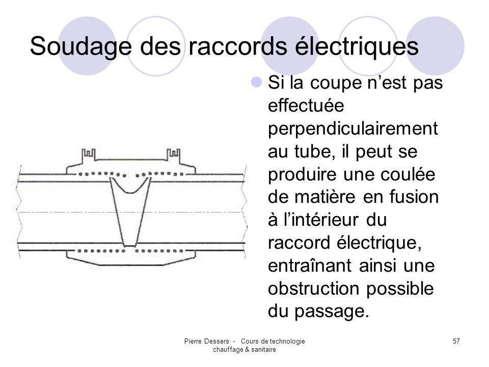 Pierre Dessers - Cours de technologie chauffage & sanitaire 57 Soudage des raccords électriques Si la coupe nest pas effectuée perpendiculairement au
