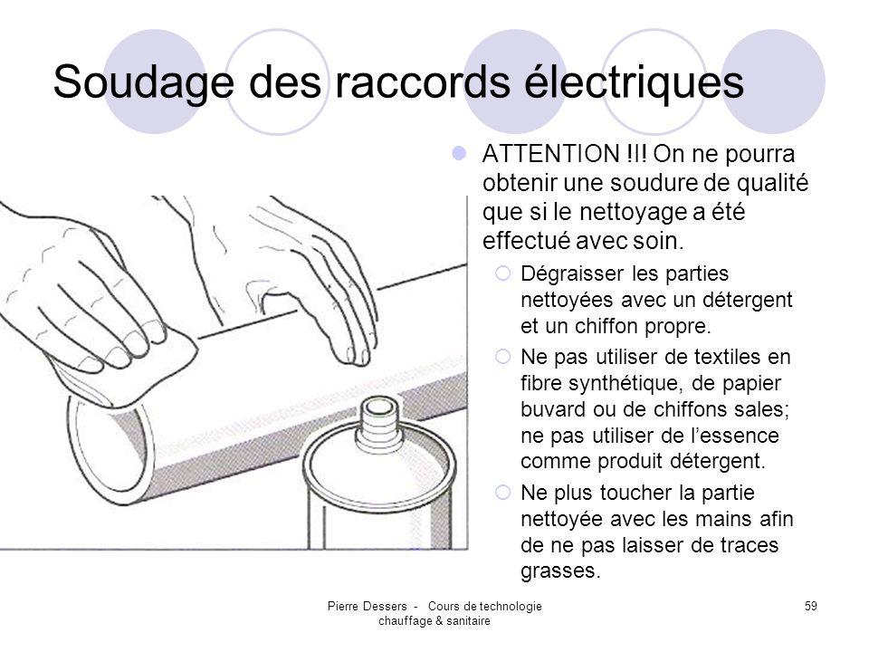 Pierre Dessers - Cours de technologie chauffage & sanitaire 59 Soudage des raccords électriques ATTENTION !I! On ne pourra obtenir une soudure de qual