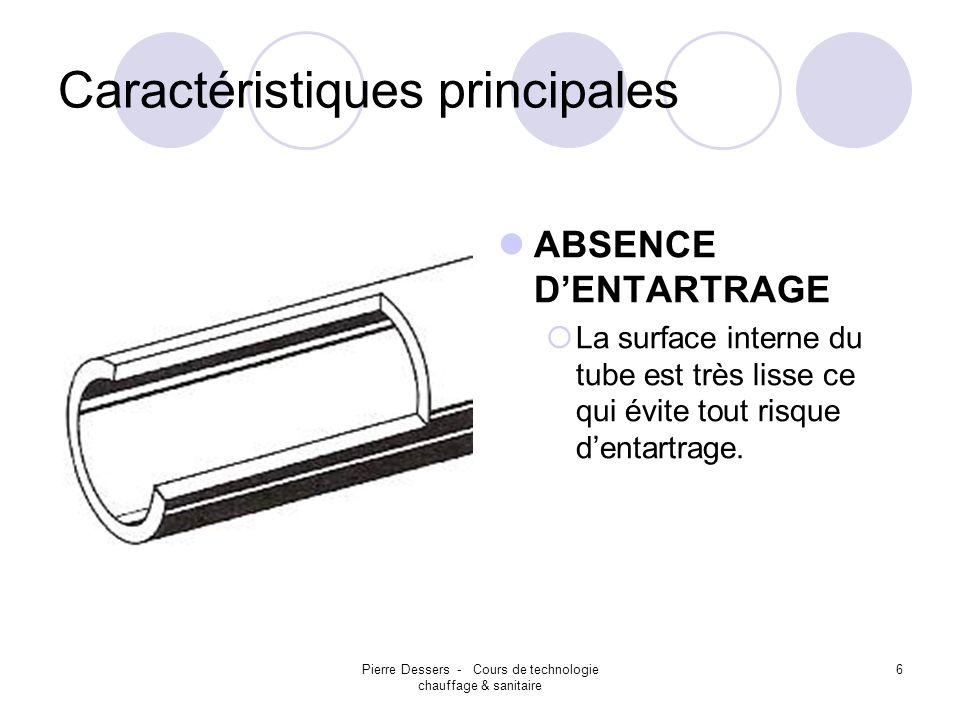 Pierre Dessers - Cours de technologie chauffage & sanitaire 6 Caractéristiques principales ABSENCE DENTARTRAGE La surface interne du tube est très lis