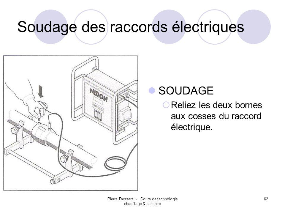 Pierre Dessers - Cours de technologie chauffage & sanitaire 62 Soudage des raccords électriques SOUDAGE Reliez les deux bornes aux cosses du raccord é