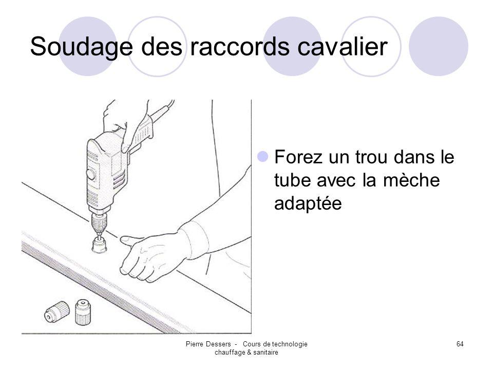 Pierre Dessers - Cours de technologie chauffage & sanitaire 65 Soudage des raccords cavalier Chauffez le tube et le raccord cavalier en utilisant la douille adaptée.
