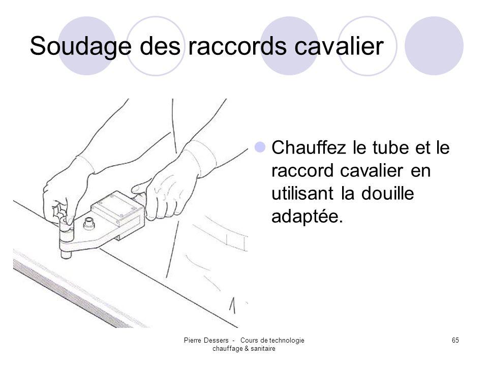 Pierre Dessers - Cours de technologie chauffage & sanitaire 66 Soudage des raccords cavalier Insérez le raccord cavalier dans le tube.