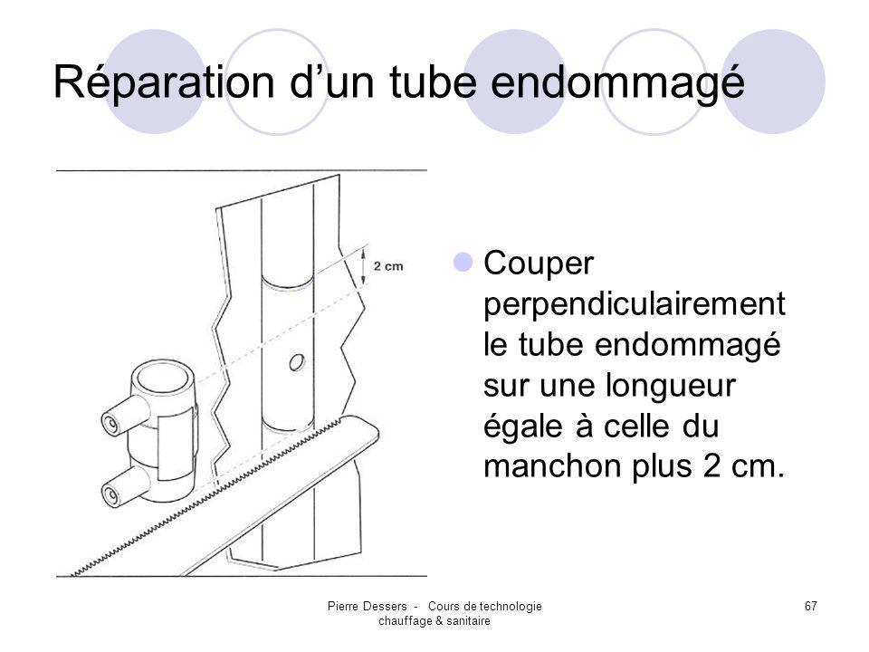 Pierre Dessers - Cours de technologie chauffage & sanitaire 67 Réparation dun tube endommagé Couper perpendiculairement le tube endommagé sur une long