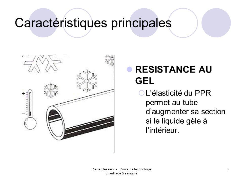 Pierre Dessers - Cours de technologie chauffage & sanitaire 8 Caractéristiques principales RESISTANCE AU GEL Lélasticité du PPR permet au tube daugmen