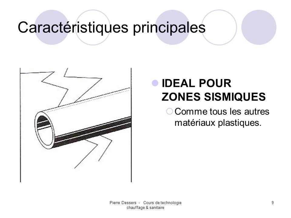 Pierre Dessers - Cours de technologie chauffage & sanitaire 9 Caractéristiques principales IDEAL POUR ZONES SISMIQUES Comme tous les autres matériaux