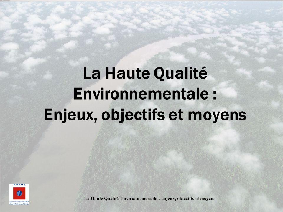 La Haute Qualité Environnementale : enjeux, objectifs et moyens Développement Durable Un développement qui répond aux besoins du présent sans compromettre la capacité des générations futures de répondre aux leurs Rapport Bruntland (Programme des Nations Unies sur lEnvironnement)- 1987