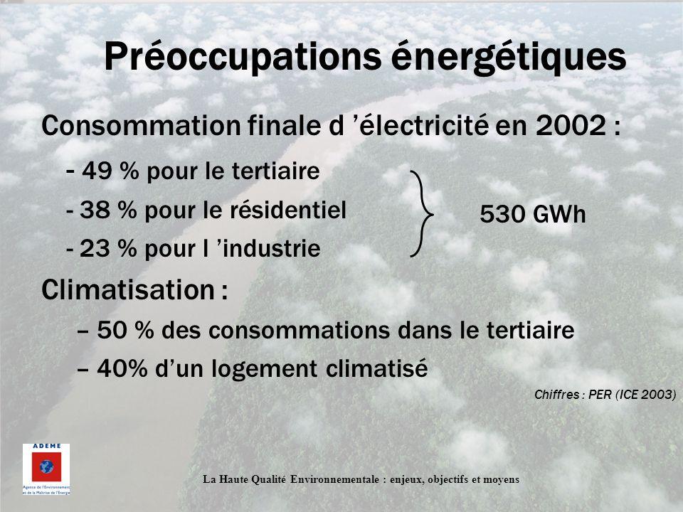 La Haute Qualité Environnementale : enjeux, objectifs et moyens Préoccupations énergétiques Consommation finale d électricité en 2002 : - 49 % pour le