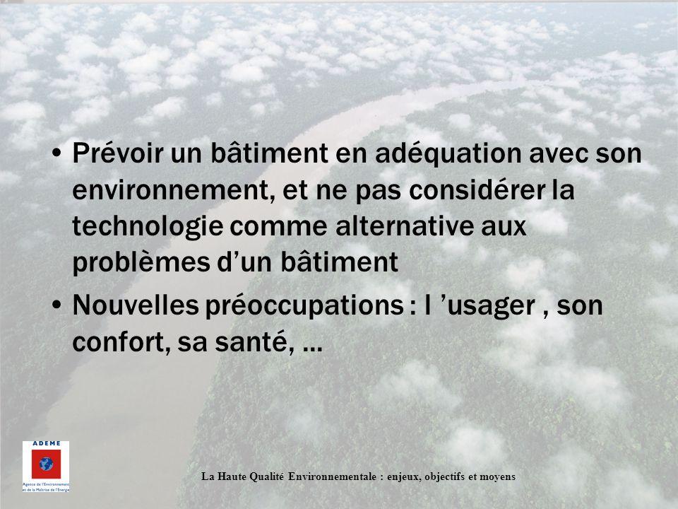 La Haute Qualité Environnementale : enjeux, objectifs et moyens Prévoir un bâtiment en adéquation avec son environnement, et ne pas considérer la tech