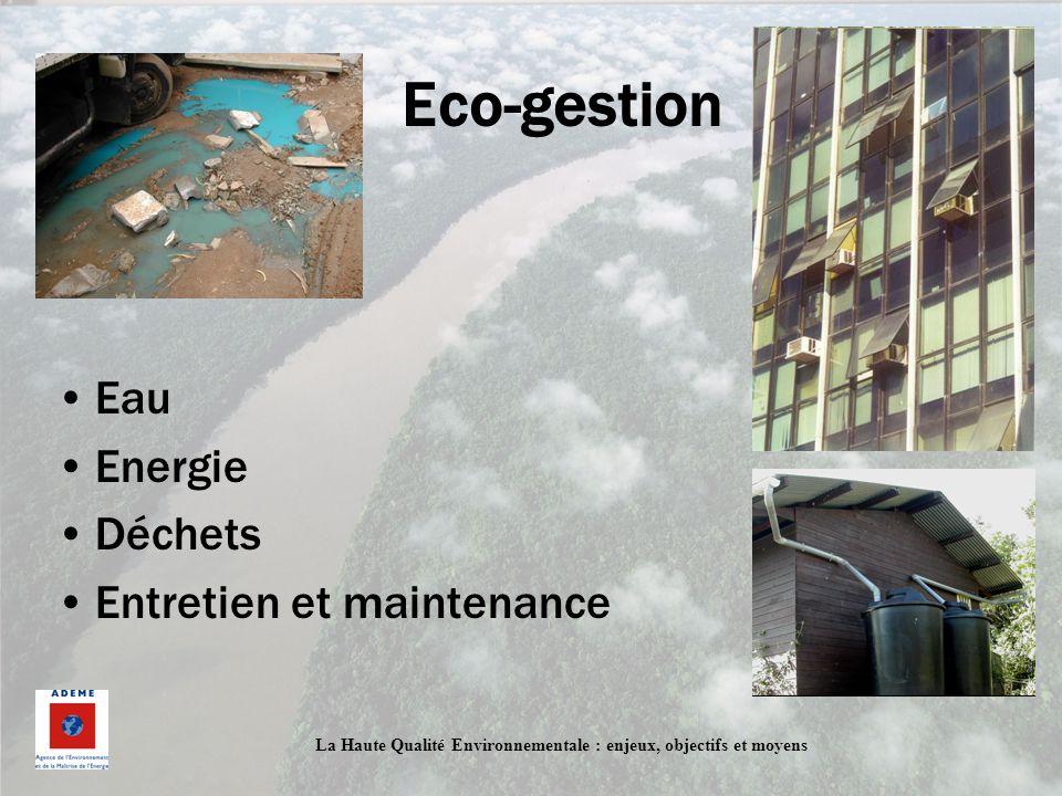 La Haute Qualité Environnementale : enjeux, objectifs et moyens Eco-gestion Eau Energie Déchets Entretien et maintenance