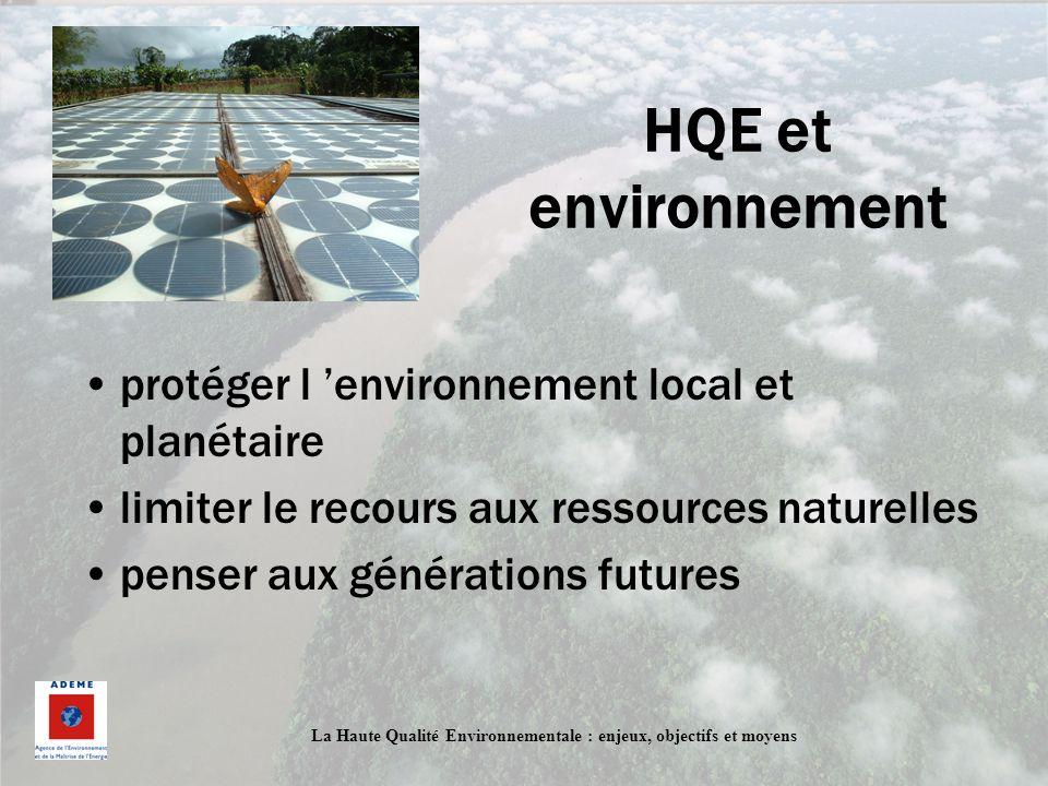 La Haute Qualité Environnementale : enjeux, objectifs et moyens HQE et environnement protéger l environnement local et planétaire limiter le recours a