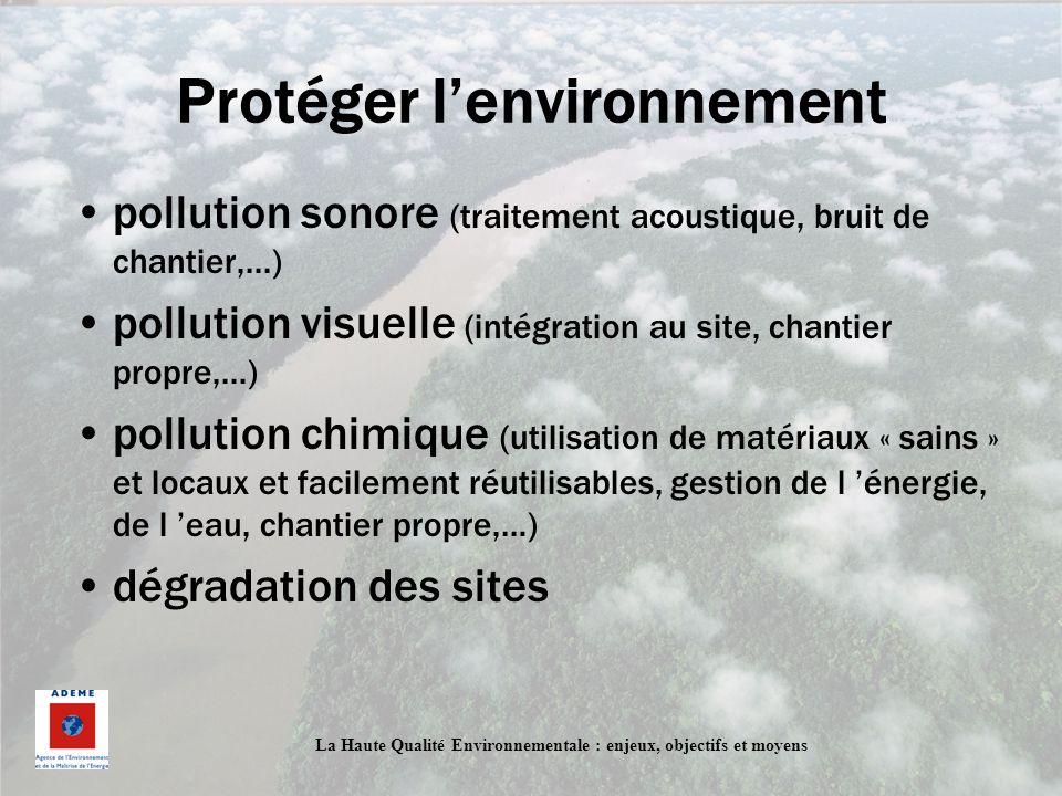 La Haute Qualité Environnementale : enjeux, objectifs et moyens Protéger lenvironnement pollution sonore (traitement acoustique, bruit de chantier,...