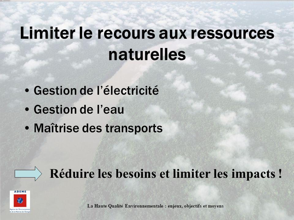 La Haute Qualité Environnementale : enjeux, objectifs et moyens Limiter le recours aux ressources naturelles Gestion de lélectricité Gestion de leau M