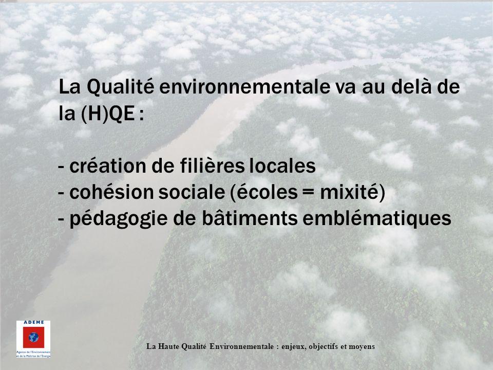 La Haute Qualité Environnementale : enjeux, objectifs et moyens La Qualité environnementale va au delà de la (H)QE : - création de filières locales -