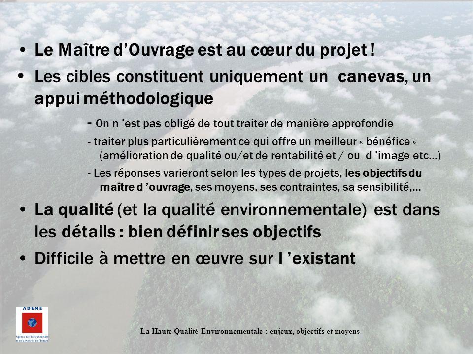 La Haute Qualité Environnementale : enjeux, objectifs et moyens Le Maître dOuvrage est au cœur du projet ! Les cibles constituent uniquement un caneva