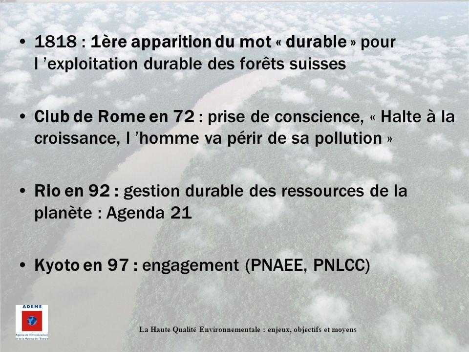 La Haute Qualité Environnementale : enjeux, objectifs et moyens 1818 : 1ère apparition du mot « durable » pour l exploitation durable des forêts suiss