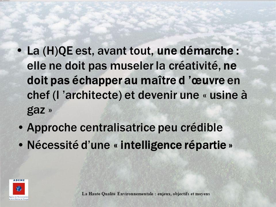 La Haute Qualité Environnementale : enjeux, objectifs et moyens La (H)QE est, avant tout, une démarche : elle ne doit pas museler la créativité, ne do