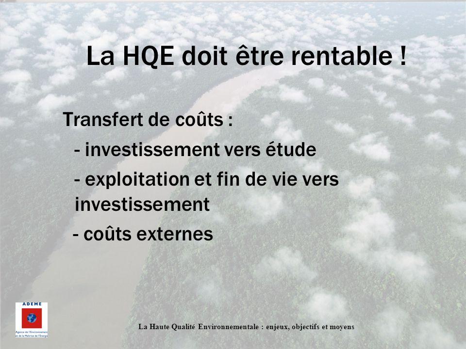 La Haute Qualité Environnementale : enjeux, objectifs et moyens La HQE doit être rentable ! Transfert de coûts : - investissement vers étude - exploit