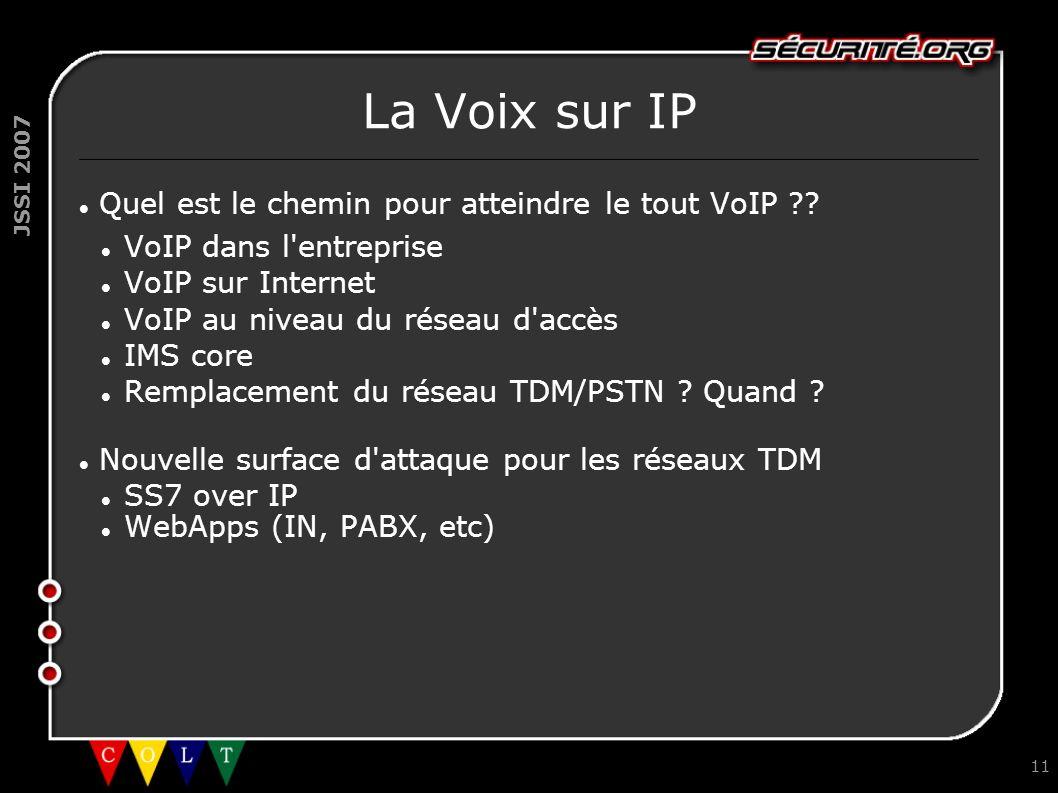 JSSI 2007 11 La Voix sur IP Quel est le chemin pour atteindre le tout VoIP ?? VoIP dans l'entreprise VoIP sur Internet VoIP au niveau du réseau d'accè